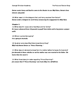 Dorian Gray - Chapters 1-5 Quiz (with answer key)