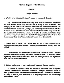 """""""Dork in Disguise"""" by Carol Gorman Reading Response Questions"""
