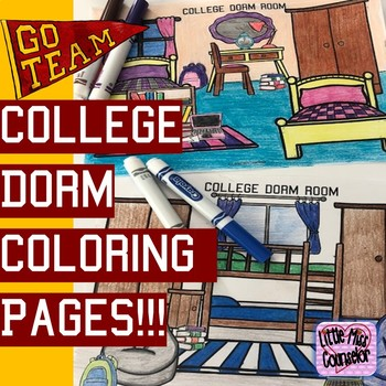Dorm Room Coloring Pages:  Perfect for College and Career Week