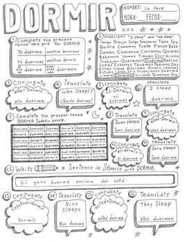Dormir Spanish verb doodle conjugation translation no prep printable
