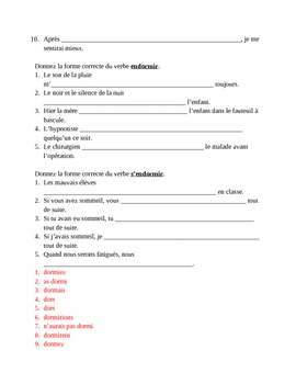Dormir in French worksheet