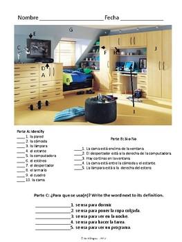 Dormitorio & Preposition Quiz