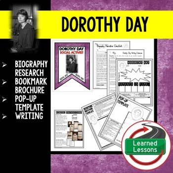 Dorothy Day Biography Research, Bookmark Brochure, Pop-Up,
