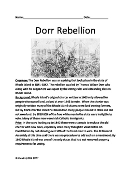 Dorr Rebellion - Rhode Island 1841-42 Lesson Questions Facts Info