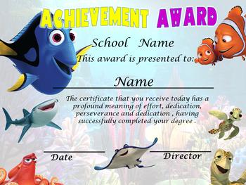 Dory & Nemo Achievemnt Award Complete Editable!!!!
