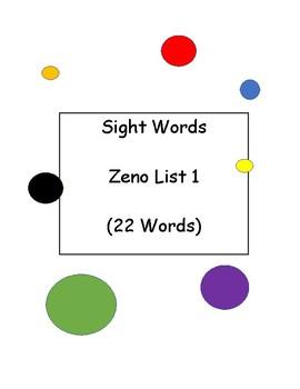 Dot Art Sight Words List 1 (Zeno List-22 Words)