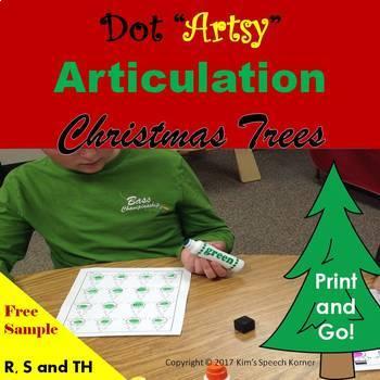 "Dot ""Artsy"" Articulation Worksheets - Christmas Trees"