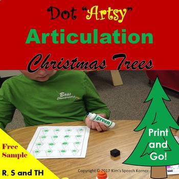 "Dot ""Artsy"" Articulation Activities - Worksheets - Christmas Trees"