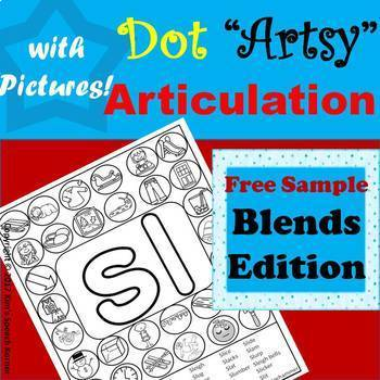 Dot Artsy Articulation Activities with Pictures - Blends Edition - FREE SAMPLE