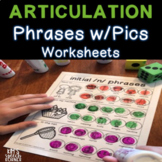 Dot Artsy Articulation Activities/Worksheets - Phrases with Pics - Print and Go