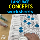 Language Activities | Speech Therapy Activities | Language Concepts | Worksheets