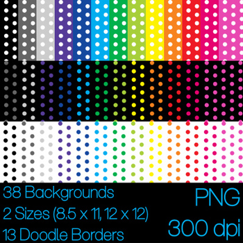 Dot Backgrounds and Doodle Borders 8.5 x 11 12 x 12