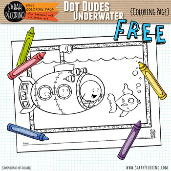 Dot Dude Underwater Coloring Page {FREE}