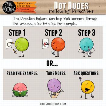 Dot Dudes Clip Art: Following Directions