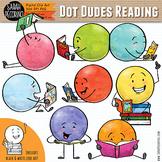 Dot Dudes Reading Clip Art