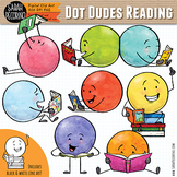 Dot Dudes Reading Clip Art
