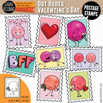 Dot Dudes Valentine's Day Postage Stamps Clip Art