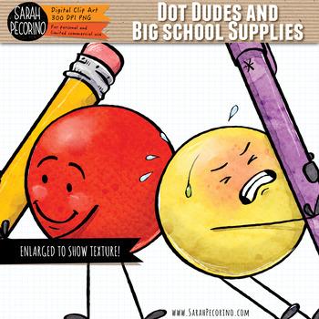 Dot Dudes and Big School Supplies Clip Art