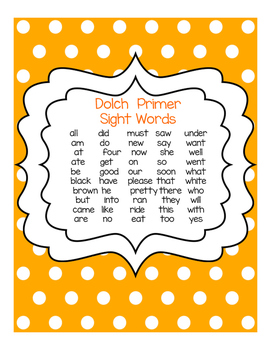 Dot It Dot It Dolch Primer