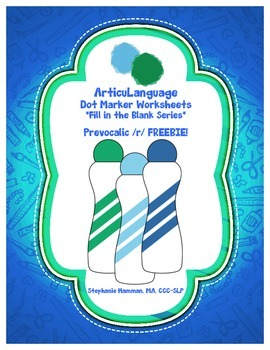Dot Marker Articulation & Language Activity Prevocalic /r/ FREEBIE!!
