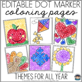 Dot Marker Coloring Pages Color by Number or Color by Sight Word EDITABLE