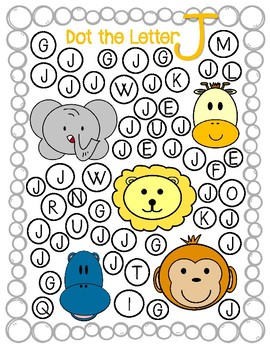 Dot Marker. Letter J. Alphabet. Worksheets