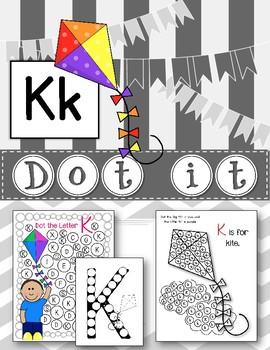 Dot Marker. Letter K. Alphabet. Worksheets
