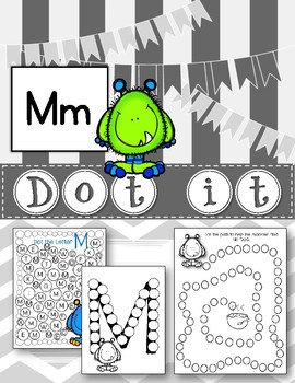 Dot Marker. Letter M. Alphabet. Worksheets