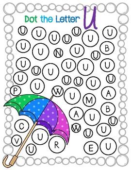Dot Marker. Letter U. Alphabet. Worksheets