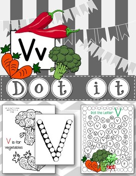 Dot Marker. Letter V. Alphabet. Worksheets