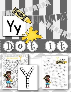 Dot Marker. Letter Y. Alphabet. Worksheet.