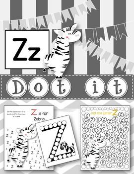 Dot Marker. Letter Z. Alphabet. Worksheets