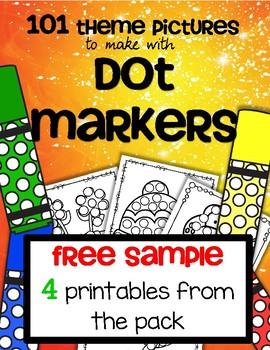 Dot Markers 101 Theme Printables FREE SAMPLE