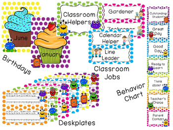 Dot Monster Classroom Theme Decor - EDITABLE!