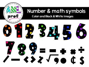 Dot Number & Math symbols 3 clipart (Chiffres à pois & symboles math)