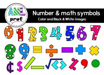 Dot Number & Math symbols  clipart (Chiffres à pois & symboles math)