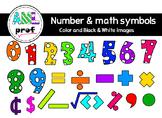 Dot Number & Math symbols  clipart (Chiffres à pois & symb