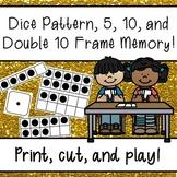 Dice Pattern, 5 Frame, 10 Frame, & Double 10 Frame Memory Game Center