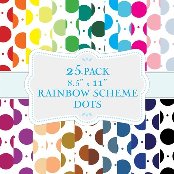 "Dot Pattern in Rainbow Colors - 25-Pack of 8.5"" x 11"""