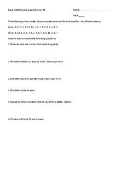 Dot Plot and Bar Graph worksheet