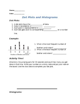 Dot Plot and Histogram Note Sheet