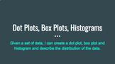 Dot Plots, Box Plots, Histograms Interactive Google Slides