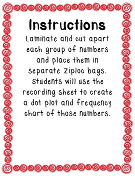 Dot Plots & Frequency Charts Math Center
