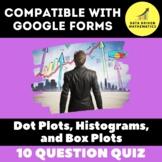 Dot Plots, Histograms, and Box Plots Quiz for Google Forms