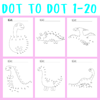 Dot To Dot 1-20 Coloring , Counting Object, Jigsaw Number Game Puzzles Bundle