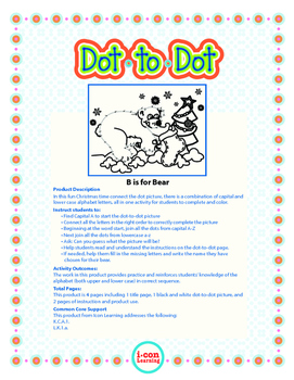 "Dot-To-Dot ""B is for Christmas Bear"" with Alphanumeric Characters"