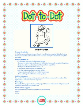 """Dot-To-Dot """"D is for Deer""""  with Alphanumeric Characters"""