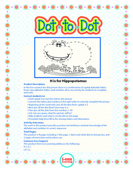"""Dot-To-Dot """"Hippo"""" with Alphanumeric Characters"""