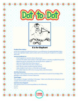 """Dot-To-Dot """"E is for Elephant""""  with Alphanumeric Characters"""