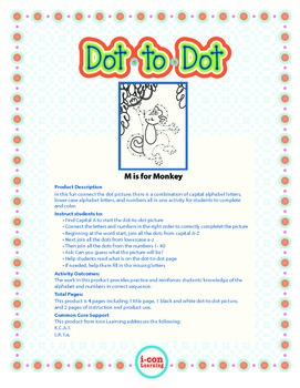 """Dot-To-Dot """"M is for Monkey"""" with Alphanumeric Characters"""